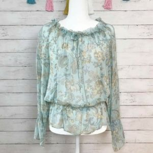 Anthropologie Tape Measure Silk Floral Top Size 12